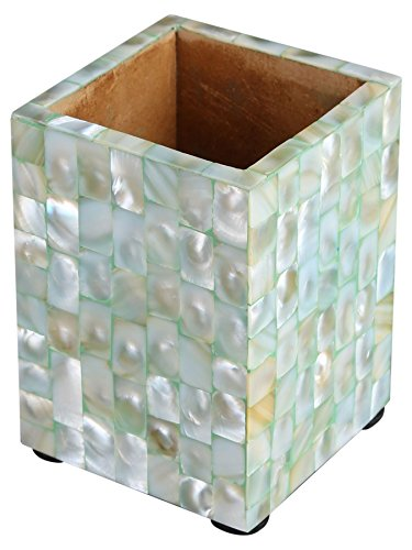 - Handicrafts Home Pen Holder Mother of Pearl Artwork Office Desk Supplies Organizer Caddy Pencil Cup [Green]