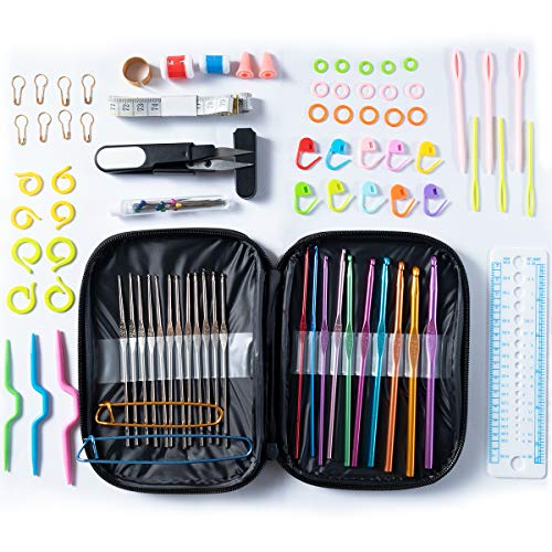 (Sunrans Best Crochet Hooks, Set Various Crochet Needles and Accessories with Case, Aluminum Crochet Hooks Multicolor from 2.0mm-6.5mm - 12pcs Stainless Steel Hooks from 0.6mm-1.9mm. Best Gift!)