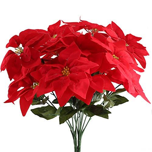 GTIDEA 2PCS Artificial Silk Poinsettia Flowers Branch Fake Floral Bouquets Christmas Tree Decorations Xmas Home Front Door Wreath Table Centerpieces Arrangements Fake Hanging Vine Swag Decoration