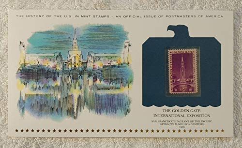 The Golden Gate International Exposition - San Francisco's Pageant of the Pacific Attracts 20 Million Visitors - Postage Stamp (1939) & Art Panel - History of the United States - Postmasters of America - Limited Edition, 1979 - Tower of the Sun