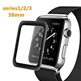 Apple Watch 38mm Screen Protector, Bestfy iWatch Tempered Glass Screen Film [2.5D Curved Edge][Full Coverage] for 38mm iWatch Series 3/2/1 (Black)