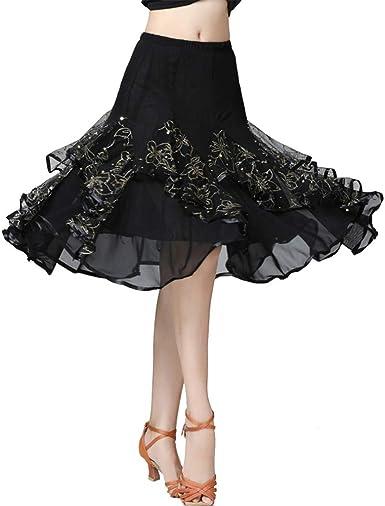 Ladies Ballroom Latin Dance Skirt Skate Wrap Salsa Tango Chiffon Dancewear YM0