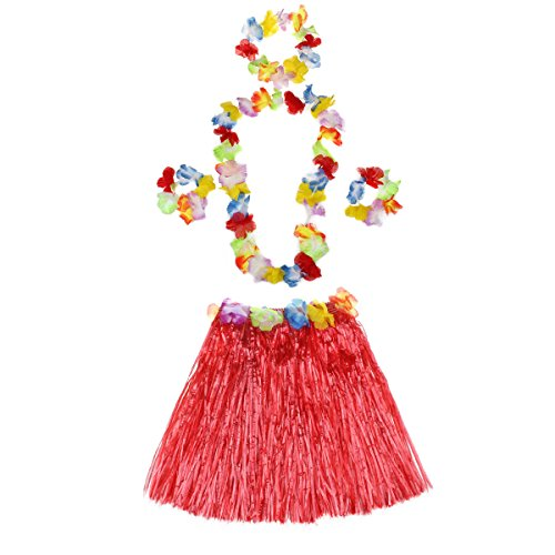 Child Hula Kit - 5 Pc Set Includes 15 inch Long Hula Skirt, 2 Flower Lei and 2 Lei Bracelets (red)