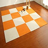 yazi Puzzle Exercise Mat Thick Foam Playmat for Baby Orange Color Set of 9, Each tile is 1 sqft 12