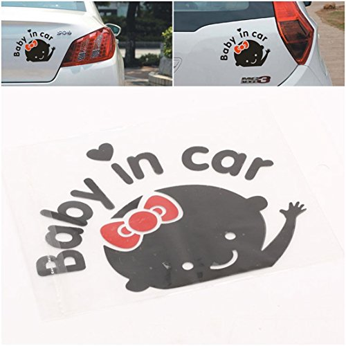1-Pc Worthy Popular Baby In Car Stickers Cute Decal Auto Sign Windows Vinyl Girl Style Color (Single Round Ivory Pearl)