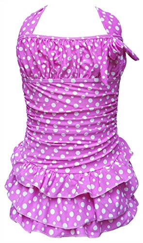 Yiyipig Little Girls One-piece Halter Neck Swimsuits Swimwear Swimdress Beachwear (4-5Years, (Girls Beachwear)