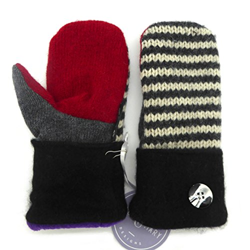 Jack & Mary Designs Handmade Womens Fleece-Lined Wool Mittens, Made from Recycled Sweaters in the USA (Black/Red/Cream, Small)