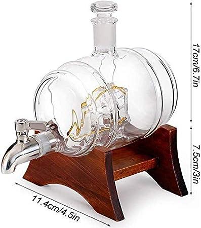 El decantador de whisky fijó el marco de madera con el recipiente de la botella de cristal en forma de barril de vino del grifo con 2 taza de vidrio para la decoración de la fiesta de la barra Decanta