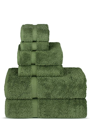 Luxury Spa and Hotel Quality Premium Turkish Cotton 6-Piece Towel Set (2 x Bath Towels, 2 x Hand Towels, 2 x Washcloths, Moss)
