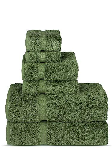 Luxury Spa and Hotel Quality Premium Turkish Cotton 6-Piece Towel Set (2 x Bath Towels, 2 x Hand Towels, 2 x Washcloths, Moss)