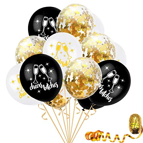 15 Pcs Cheers Bitches Gold Conffeti Balloons with Gold Ribbon for Bachelorette Party, Engagement Party, Birthday Party, Graduation, Wedding Party Decorations]()