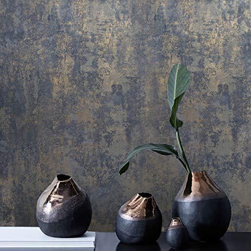 Modern Unique Industrial Look Wallpaper Rustic Navy Blue Gray Gold Plain Textured Contemporary Faux Rusted Concrete Plaster wallcoverings Double roll Covering 3D Wall coverings (Covering Gold Wall)