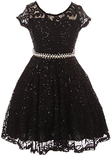 Big Girls Cap Sleeve Glitter Lace Pearl Holiday Junior Bridesmaid Flower Girl Dress USA Black 8 -