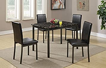 Poundex Dining Table With Black Marble Finished Top And 4 Chairs Multicolor Table Chair Sets