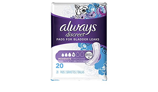 Amazon.com: Always Discreet, Incontinence Pads, Moderate, Regular Length, 20 Count (Pack of 2): Health & Personal Care