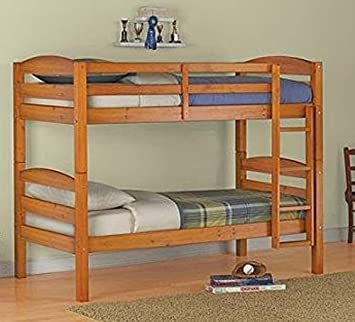 Amazon Com Mainstays Twin Over Twin Wood Bunk Bed Pine Furniture Decor