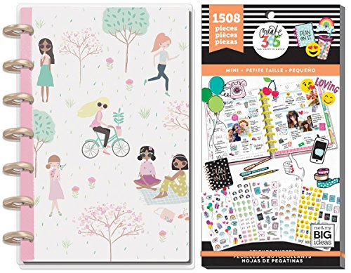 Mini Happy Planner Set - Dated Mini Squad Goals Planner and Tiny Icons Sticker Value Pack - Dated July 2018 to June 2019 - 2 Item MAMBI - Value Pack Inspirational