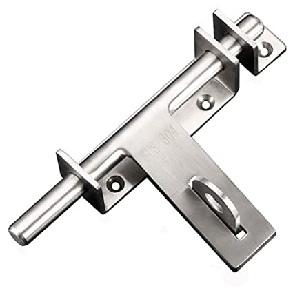 dingchi Sliding Bolt Gate Latch, Safety Lock Bolt Hasp, Heavy Duty 304  Stainless Steel Barrel Door Latches, with Padlock Hole, Brushed Finish