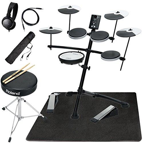 [해외] Roland 전자 드럼 TD-1KV 3심벌즈 순정 드럼 의자 부착 오리지널스다퍼터팟쿠 매트 세트
