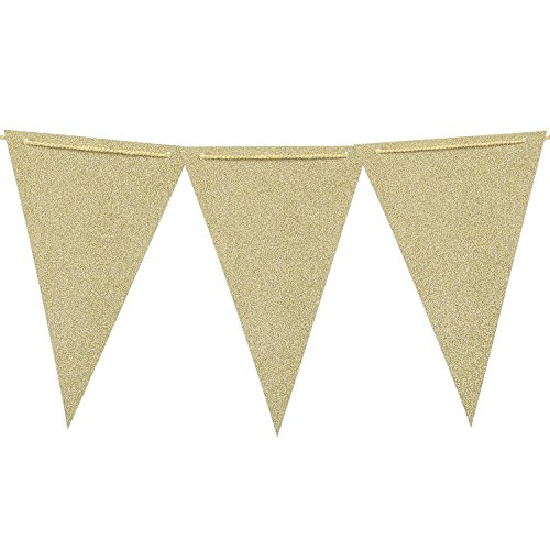 Ling's moment 10 Feet Paper Triangle Banner Flags Double Sided Glitter Champagne Gold Vintage Style Pennant Banner for Wall Decor, Wedding Garland, Birthday Party, Baby Shower,15 Pcs (Banister Garland Christmas)