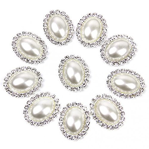 BARGAIN HOUSE 20 Pieces 20 mm DIY Handicraft Bead Button Elliptical Glitter Decoration Material Pearl