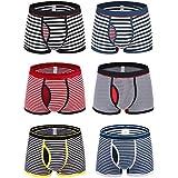 Novee Men's Performance Comfortable Soft Cotton Boxer Briefs Trunks Stripe Underwear Breathable (0919-6 Pack-S)