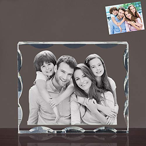 Laser Photo Crystal - Qianruna 2D/3D Laser Crystal Photo Personalized Custom Beveled Crystal Glass Portrait Engraving Gifts,Best Gifts for Wedding and Anniversary (Small)