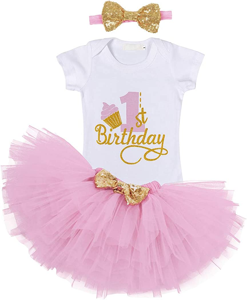 Eledobby Baby Girl 1st Birthday Tutu Dress Short Sleeve Letter Romper Skirt Outfit Clothes Set with Headband