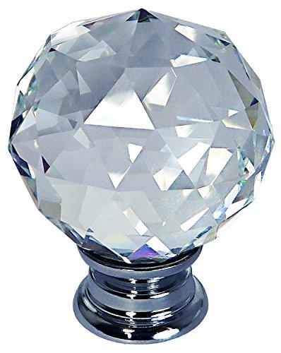 2 x TEZ® 40 mm Lily Bola Facet Crystal Tiradores Asas – 40 mm – Diámetro de cristal base de cristal de la bola Facet – Cromo, Brillante transparente – Se Vende como un – Pack de 2 pomos – Superior Calidad &nda