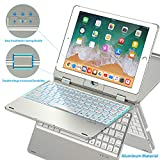 Keyboard Case Compatible with iPad 2018 (6th Gen)/2017 (5th Gen)/Pro 9.7/Air 2 & 1 | Double-Rotating Hinge & Aluminum Keyboard/Case | Colorful Backlit Keys & Long Working Time (Silver)