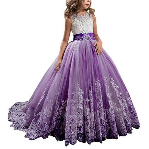 WDE Princess Plum Purple Long Girls Pageant Dresses Kids Prom Puffy Tulle Ball Gown US 8