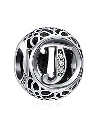 ChicSilver 26 Letter Alphabet Vintage Charm 925 Sterling Silver Charms Fits European Bracelets Compatible