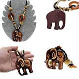 Sumanee Boho Jewelry Necklace Long Hand Made Bead Wood Elephant Pendant Ethnic Style