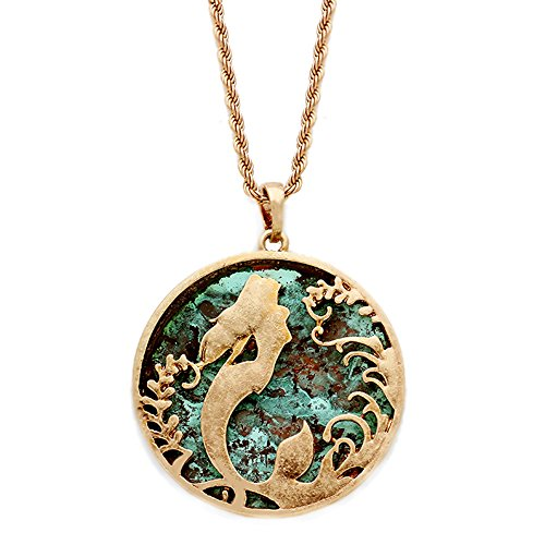 Liavy's Metal Disc Mermaid Charm Pendant Fashionable Necklace - 19