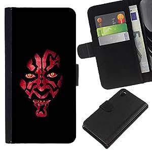 Sony Xperia Z3 D6603 / D6633 / D6643 / D6653 / D6616 , la tarjeta de Crédito Slots PU Funda de cuero Monedero caso cubierta de piel ( Devil Red Face Portrait Evil Eyes Face)