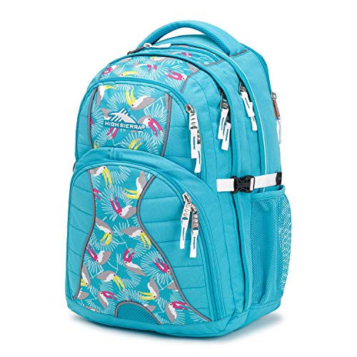 High Sierra Swerve Laptop Backpack, 17-inch Laptop Backpack for High School or College (Tropic Teal/Toucan/White) (Ryan Lane)