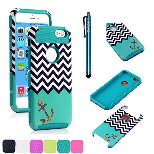 iPhone 5C Case MOUKOU(TM) Unique Hybrid Hard Armor Shell and Silicone Skin Chevron Pattern with Anchor Design Case for iphone5c(S-Blue)
