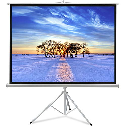 Projector Screen with Stand 100 Inch 4:3- Height Adjustable Outdoor Projection Screen- Premium Wrinkle-Free Foldable Screen for Indoor Office Presentation Movie W/Tripod by PERLESMITH