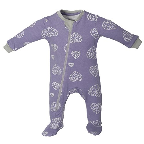 ZippyJamz Organic Baby Footed Sleeper Pajamas with Inseam Zipper for Quickier and Easier Diaper Changes ~ Heartbreaker (3-6 (Glow In The Dark Skeleton Suit)