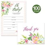 Oh Baby Shower Invites ( 100 ) & Matching Thank You Notes ( 100 ) Set with Envelopes, Large Celebration Party Mom-to-be Infant Girl Fill-in Invitations & Folded Blank Thank You Cards Best Value Pair