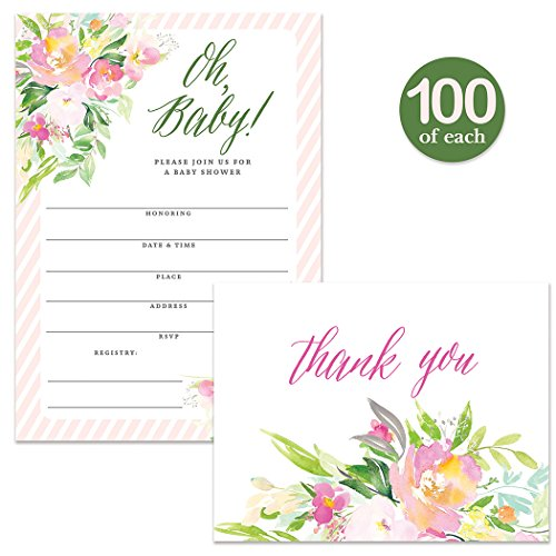 Oh Baby Shower Invites ( 100 ) & Matching Thank You Notes ( 100 ) Set with Envelopes, Large Celebration Party Mom-to-be Infant Girl Fill-in Invitations & Folded Blank Thank You Cards Best Value Pair by Digibuddha