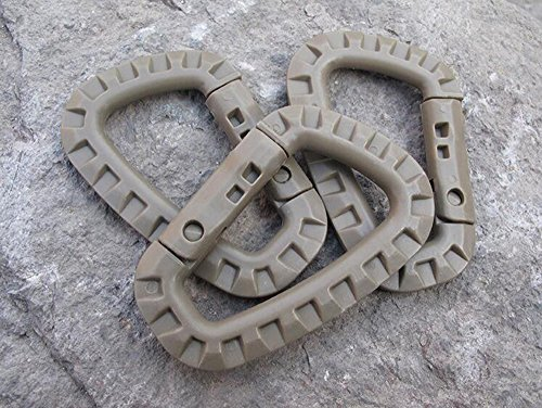 EKLORN 6pcs Plastic Light Weight D-ring Carabiner Hanging Hook Clip for Backpack Outdoors with Free Cable Organizer (Brown)