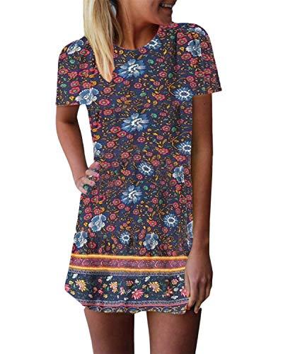 ZANZEA Women's Short Sleeve T Shirt Dress Tie-dye Floral Print Round Neck Mini Dress Navy2 10 ()