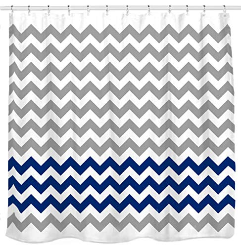 Sunlit Zigzag Navy Blue and Grey White Chevron Fabric Shower Curtain, Geometric Zig Zag Print Pattern Lines and Contemporary Stripes Modern Design Ocean Nautical Theme Fabric Bathroom Décor (White Fabric Grey Chevron)