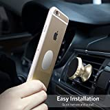Magnetic Car Phone Mount - Universal Aluminum Car Phone Mount Holder for Air Vent,Cradle,Dash with Two Plates for Cellphone like iPhone 8/8 Plus,7,7 Plus,6S,6S Plus and Android Smartphones(Gold)
