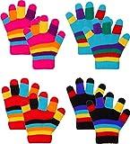 Emmalise Children Kids Winter Cold Weather Winter Knit Gloves - Dbl HPink, Dbl Bk, Dbl Tq, Dbl Rd