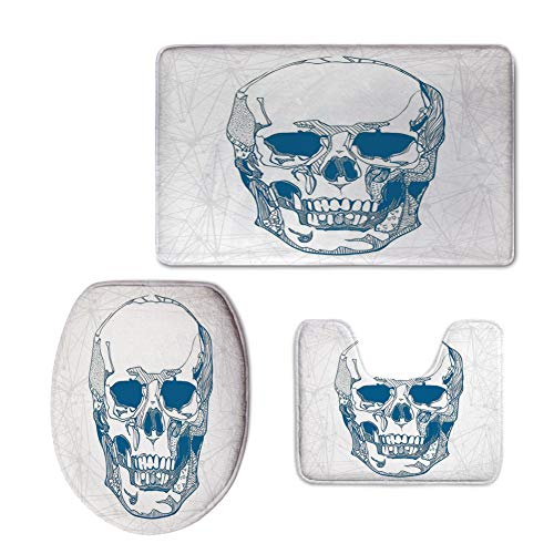 iPrint Fashion 3D Baseball Printed,Skull,Hand Drawn Human Skull with Science Elements Background Medical Theme Illustration,Blue White,U-Shaped Toilet Mat+Area Rug+Toilet Lid Covers 3PCS/Set by iPrint