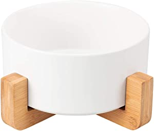 JEROCK Ceramic Cat Dog Bowls Raised Food and Water Dish with Anti-Slip Wooden Stand Elevated Round Pet Feeding Bowl Dishwasher Safe & Easy to Clean (White)
