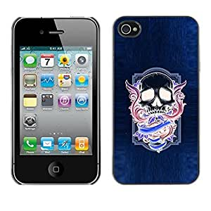 Colorful Printed Hard Protective Back Case Cover Shell Skin for Apple iPhone 4 / iPhone 4S / 4S ( Neon Purple Skull Wings Blue Purple )