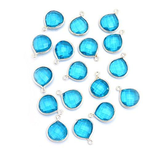 (Elegantjewels 10 Pcs Blue Topaz Quartz Heart Shape 12x12mm Briolette Gemstone Pendant,925 Sterling Silver Connector)
